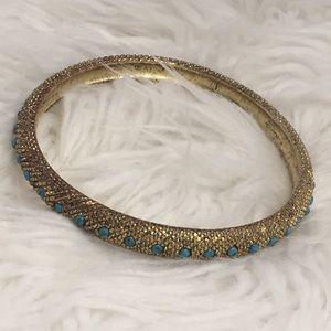 ❤️ Gold Tone Turquoise Bangle Bracelet